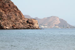 Rocky coast and sea gulf. Cartagena, Spain Stock Photos