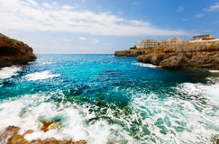 Rocky coast and the sea on the island Majorca, Spain Royalty Free Stock Images