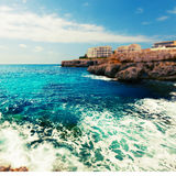 Rocky coast and the sea on the island of Majorca, Spain Stock Image