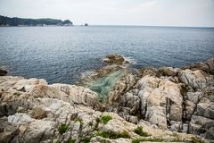 Rocky coast of the Sea of Japan royalty free stock photos