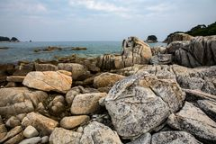 Rocky coast of the Sea of Japan stock image