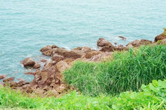 The rocky coast of the sea landscape Stock Images