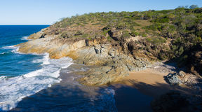Rocky coast and seaside view. A view of the rocky coast in 1770, Queensland, Australia Stock Photos
