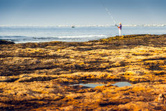 Rocky Coast and See with Fisherman Royalty Free Stock Images