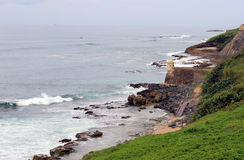 Rocky Coast and Sentry Box Fort in Old San Juan Puerto Rico Stock Photography