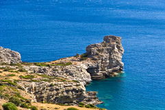 Rocky coast at south part of Crete island Royalty Free Stock Photos