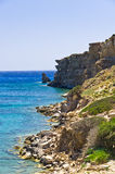 Rocky coast at south part of Crete island Royalty Free Stock Image