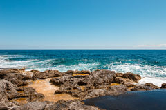 Rocky coast at St Julians, Malta Royalty Free Stock Photo
