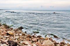 Rocky coast and stormy sea in Catalonia Royalty Free Stock Image