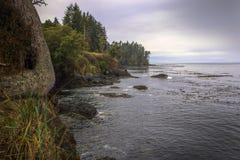 Rocky Coast sullo stretto di Juan de Fuca fotografia stock libera da diritti