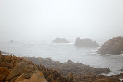Rocky Coast in a summer foggy evening Royalty Free Stock Photo