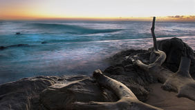 Rocky Coast Sunrise with Long Exposure Royalty Free Stock Photo