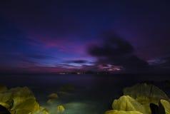 Rocky Coast Sunset, Seychelles Stock Photo