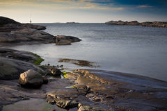 Rocky coast. Sunset at rocky coast in western part of sweden Stock Photography