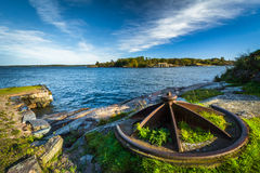 Rocky coast on Suomenlinna, in Helsinki, Finland. Stock Photo