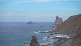 Rocky coast of Tenerife and Benijo beach stock video