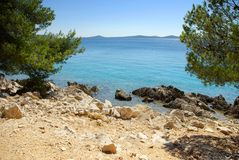 Rocky coast of the turquoise sea, Croatia Dalmatia Royalty Free Stock Photo