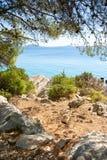 Rocky coast of the turquoise sea, Croatia Dalmatia Royalty Free Stock Photos