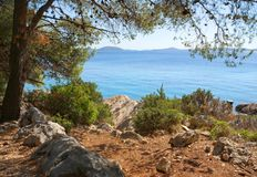 Rocky coast of the turquoise sea, Croatia Dalmatia Royalty Free Stock Photos