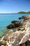 Rocky coast of the turquoise sea, Croatia Dalmatia Stock Photos
