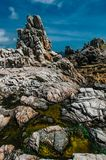 Rocky coast of Ushant island in Brittany, France Royalty Free Stock Images