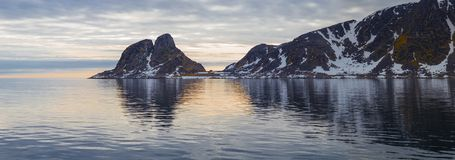 Mountain coast in the west of the Spitsbergenof the Spitsbergen archipelago panorama Royalty Free Stock Images