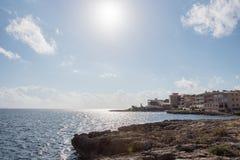 Rocky coastal landscape on the Mediterranean Sea in Majorca in t Stock Photo