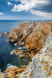 Rocky coastal scenery around Pointe de Pen-Hir in Brittany, Fran. Ce Stock Photography