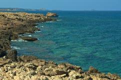 Rocky Coastline. At Cape Apostolos Andreas Royalty Free Stock Image