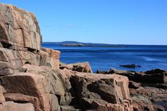 Rocky coastline of Acadia National park Stock Photo