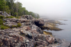 Rocky coastline. In Acadia National Park, ME Stock Images