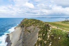 Rocky coastline along cliffs in Santander, Spain Royalty Free Stock Photo