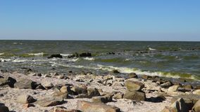 Rocky coastline of Azov sea stock footage