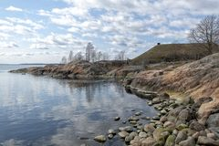 Rocky Coastline Baltic Sea Suomenlinna royalty-vrije stock fotografie