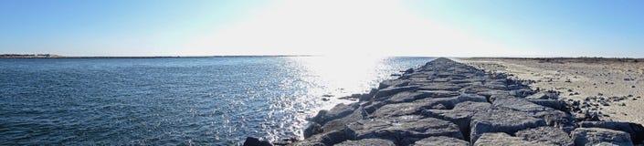 Rocky Coastline by Barnegat Lighthouse Stock Photography