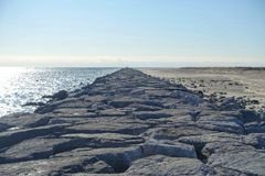 Rocky Coastline by Barnegat Lighthouse stock photos