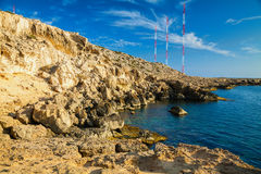 Rocky coastline at Cape Greco Royalty Free Stock Images