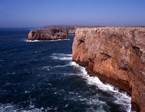 Rocky coastline, Cape St. Vincent, Portugal. Royalty Free Stock Photography
