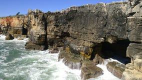 The rocky coastline of Cascais stock footage