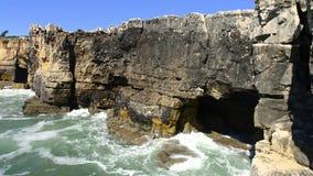 The rocky coastline of Cascais stock video