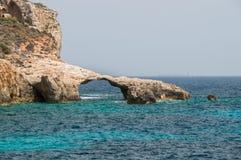 Rocky coastline in Comino Island in Malta. Royalty Free Stock Photography