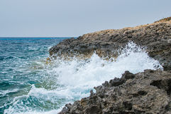 Rocky coastline in Comino Island in Malta. Stock Image