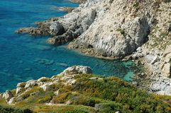 Rocky coastline in Corsica Stock Photo