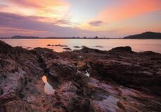 Rocky coastline at dawn
