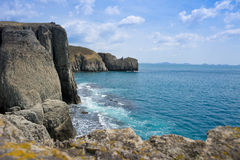 Rocky coastline fall Royalty Free Stock Image