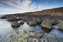 Rocky coastline The Giants Causeway, North Irealand Royalty Free Stock Photography