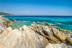 Rocky coastline at Halkidiki Kassand Royalty Free Stock Image