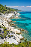 Rocky coastline at Halkidiki Kassand Stock Photo