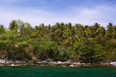 Rocky coastline on island Royalty Free Stock Photo