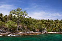 Rocky coastline on island Stock Images